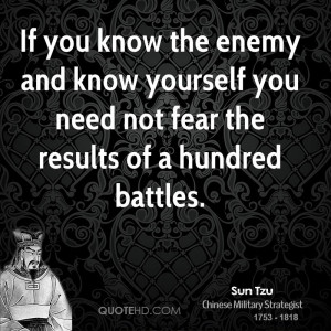 If you know the enemy and know yourself you need not fear the results ...