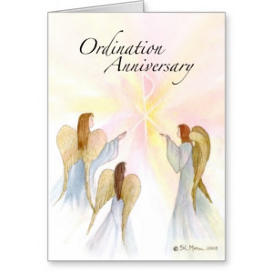 3849 Ordination Anniversary with Angels Greeting Card