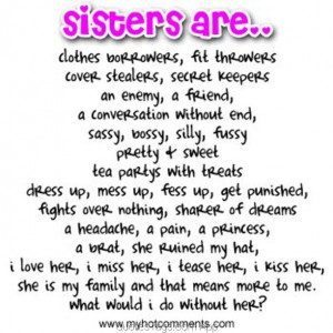 Facebook Quotes About Sisters I love my Sister