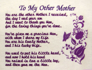 To My Other Mother You Are The Other Mother I Received The Day I Wed ...
