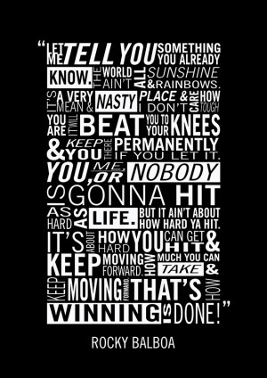 Rocky Balboa Quote About Winning. Boxing Theme Print/Poster. Sizes: A4 ...