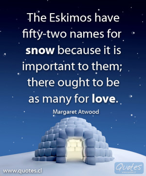 ... Eskimos had fifty-two names for snow because it was important to