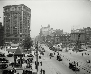 Looking up Woodward Avenue, Detroit, Michigan, ca.1917