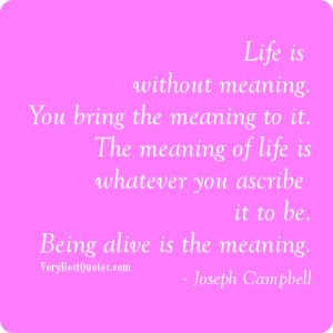 ... is without meaning you bring the meaning to it the meaning of life