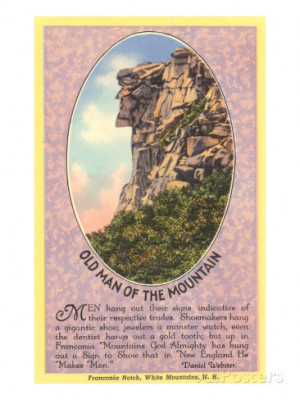 Old Man of the Mountain, Quote, New Hampshire Art Print