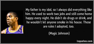 My father is my idol, so I always did everything like him. He used to ...