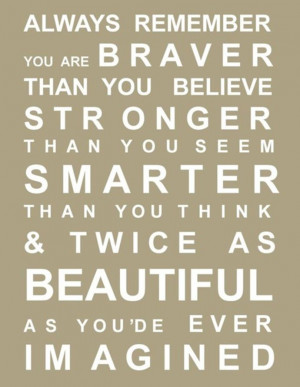 "Beauty Quote 12: ""Always remember you are braver than you believe ..."