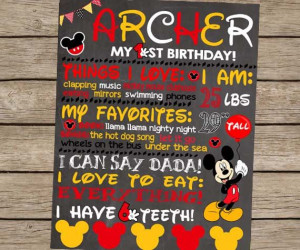 ... Mickey Mouse Party Disney First Birthday Sign Clubhouse #kids #quotes