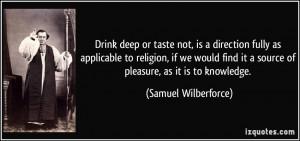 it a source of pleasure as it is to knowledge Samuel Wilberforce
