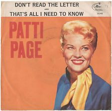 PATTI PAGE PICTURE SLEEVE ONLY DON 39 T READ THE LETTER PS PIC SLV