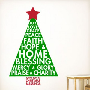 ... and charity. Twelve days of Christmas blessings- Christmas wall Decal
