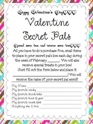 Here is the form we use to organize secret pals and give each other ...