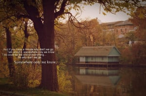 autumn, keane, leaf, leaves, park, quote, quotes, somewhere only we ...