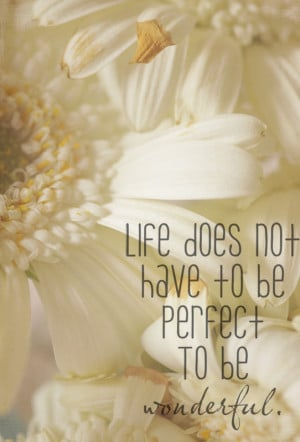 Life Does not have to be perfect