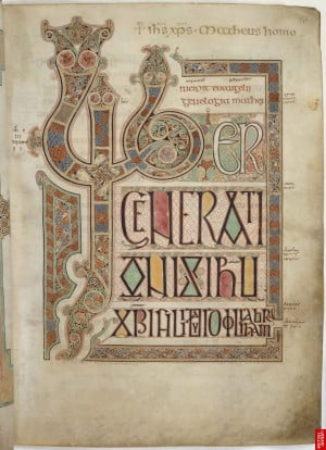 The Lindisfarne Gospels: Gospel of St Matthew the Evangelist, initial ...