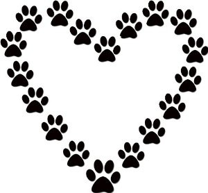 Dog Paw Print Heart Dog Lover Black Vinyl Wall Decal