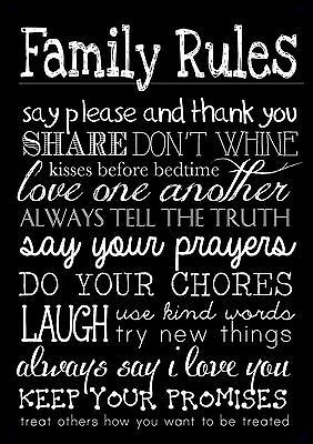 FAMILY RULES 3 LIFE INSPIRATIONAL / MOTIVATIONAL QUOTE POSTER / PRINT ...