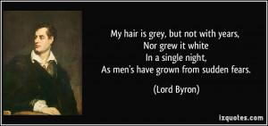 My hair is grey, but not with years, Nor grew it white In a single ...