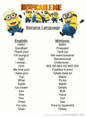 minions banana language despicable me tv funny pics pictures pic ...