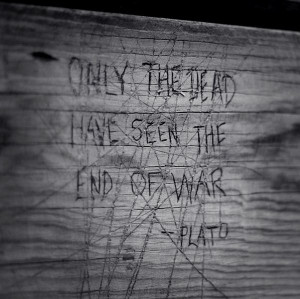 black & white, carving, plato, quote, wood