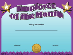 Employee Of The Month Certificate Template Printable