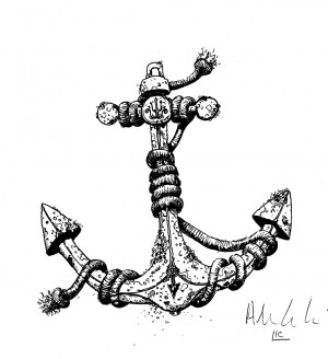 anchor drawings with banner