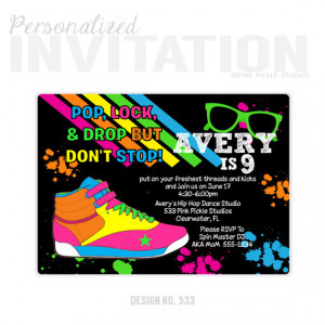 Hip Hop Dance Birthday Party Invitations, personalized thank you cards ...