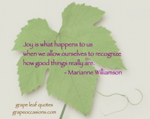 Grape Leaf Quote: Joy in Life