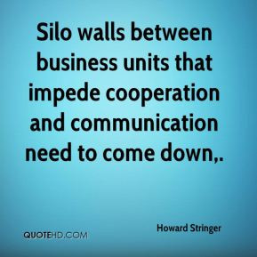 Howard Stringer - Silo walls between business units that impede ...