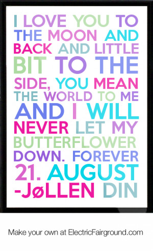 ... bit to the side, you mean the world to me and I will neve Framed Quote