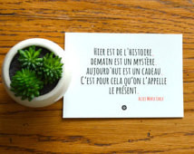 Card with Gift Quote by Alice Morse Earle in French ...