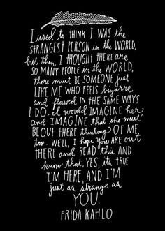 Frida Kahlo quote by hand lettering artist Lisa Congdon