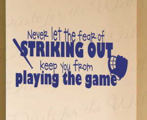 Wall Decal Sticker Quote Vinyl Art Removable Baseball Boy's Sports ...