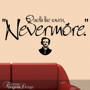 The Raven Quote Decal - Quoth The Raven Nevermore, Vinyl Wall Decal ...