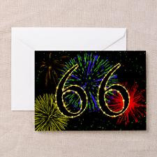 66th birthday with fireworks Greeting Card for