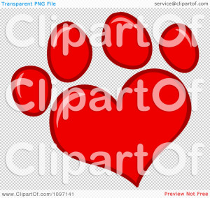 Clipart Red Heart Shaped Dog Paw Print Royalty Free Vector Wallpaper ...