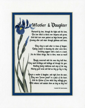 Mother & Daughter Touching 8x10 Poem