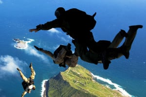 US Navy SEALS Freefall from Air Force C-17. Photo courtesy of U.S ...