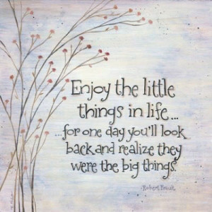 Enjoy the little things in life… for one day you'll look back and ...