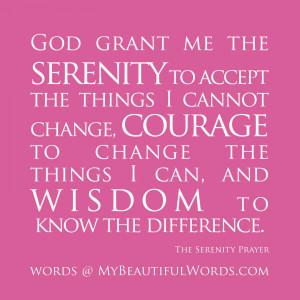 The Serenity Prayer...