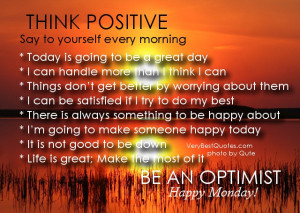 happiness quotes – happy monday think positivesay to yourself every ...
