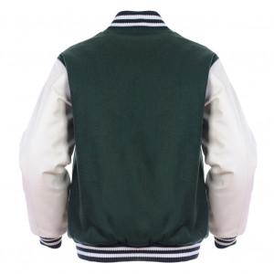 ... Green & White Retro Varsity Wool & Synthetic Leather Letterman Jacket