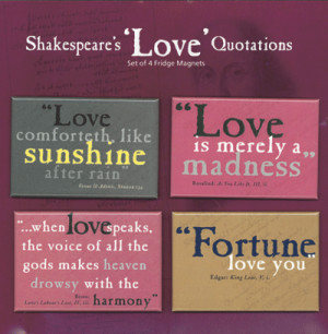 Shakespeare Love Quote 4 Magnet Set