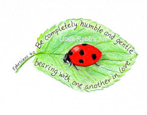Scripture Art Ladybug Inspirational Bible Verse by LindaRobbsArt