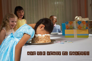 Funny birthday party ecard with words