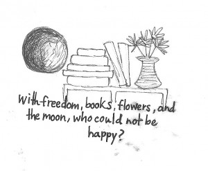 Oscar Wilde Quote – Books, Flowers and the Moon