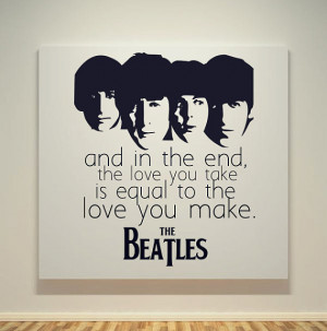 The Beatles - The End Song Quotes - 20X20 Canvas Frame - Pop Art ...