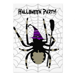 File Name : cute_witch_spider_halloween_party_invitations ...