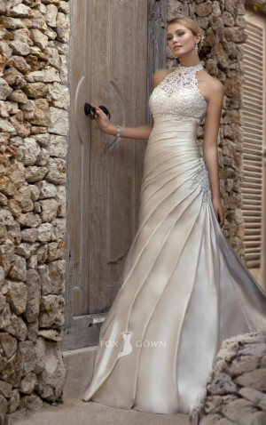 ... Strapless A-line Pleated Wedding Dress with Beaded Lace Halter Jacket
