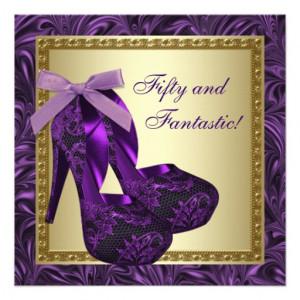 High Heel Shoes Womans Purple 50th Birthday Party Custom Invitations ...